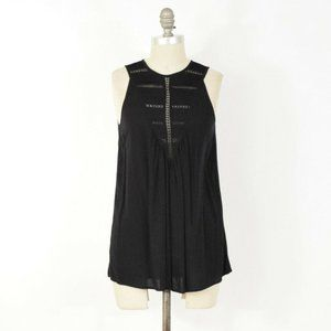 Theory Black Embroidered Eyelet Lace Tank Top